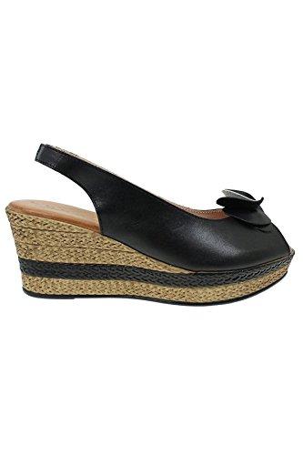 ZAFIRO Boutique jlh071 SALVADOR Mujer Cuero Punta Abierta Gel Cómodo Flor Sandalias De CuñA Negro