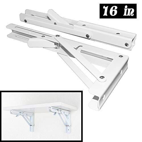 - Folding Shelf Brackets - Heavy Duty Metal Collapsible Shelf Bracket for Bench Table, Shelf Hinge Wall Mounted Space Saving DIY Bracket, Max Load: 150 lb 2 PCS (16 Inch, White)