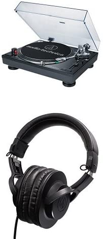 Audio-Technica AT-LP120-USB Direct-Drive Professional Turntable and ATH-M20x Professional Headphones