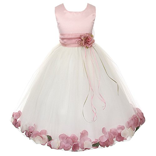 Flower Petal Skirt - Big Girls Rose Top Sleeveless Satin Bodice Floating Flower Petals Girl Dress with Matching Organza Sash and Ivory Double Tulle Skirt - Dusty Rose Set - Size 12