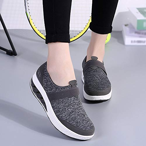Holywin Casual Increased Womens Thick Shoes Sneakers Gray Soled Shoes Wedge Dark Running rTqrn5w