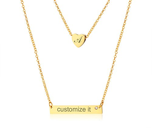 PJ Jewelry Free Engraving Personalized Double Layered Necklace Custom Name Initial Bar Coordinates Necklace (Jewelry Necklace Monogram)