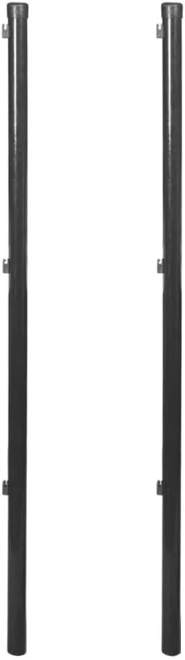vidaXL 2x Postes de Valla Malla Metálica 150 cm Gris Estaca Cerca Reja Cercado