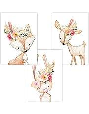 Wandbilder 3er Set für Babyzimmer Deko Poster | Kunstdruck DIN A4 | Dekoration Kinderzimmer