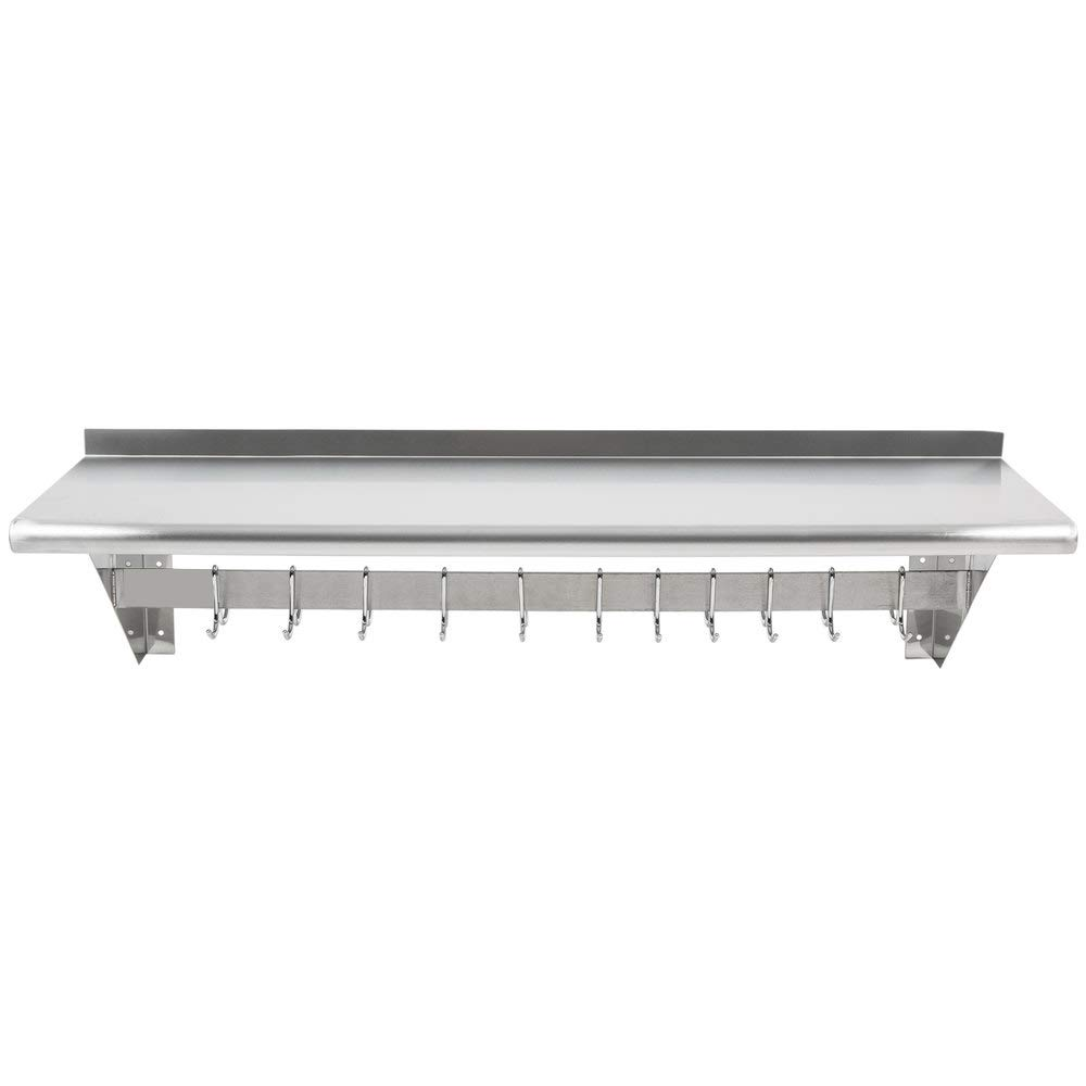 Hakka 15'' x 48'' Commercial Stainless Steel Wall Mounted Pot Rack with Shelf and Hooks by HAKKA FOOD PROCESSING (Image #1)