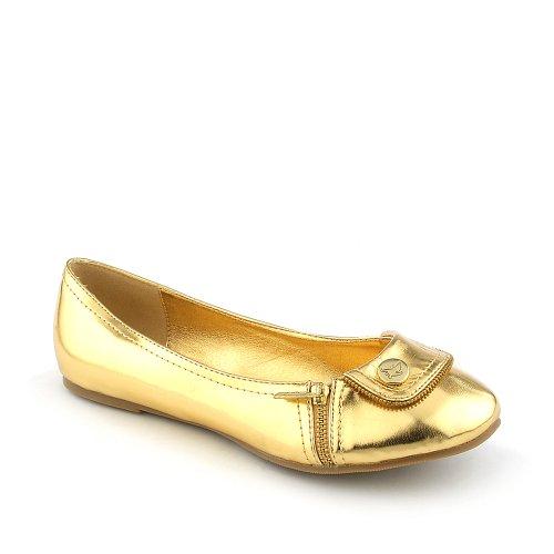 Shiekh Kvinna Smak Klänning Platt Guld Metallic Pu