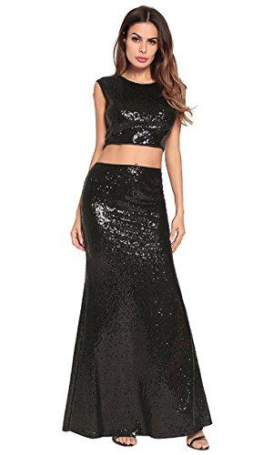 de Black mujer vestido FOLOBE fiesta lentejuelas de la noche vestido de qwBvBRZ8