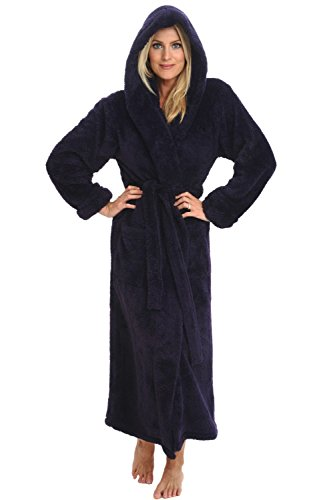 Alexander Del Rossa Women's Plush Fleece Robe with Hood, Long Warm Bathrobe, 1X 2X Purple (A0304PUR2X)