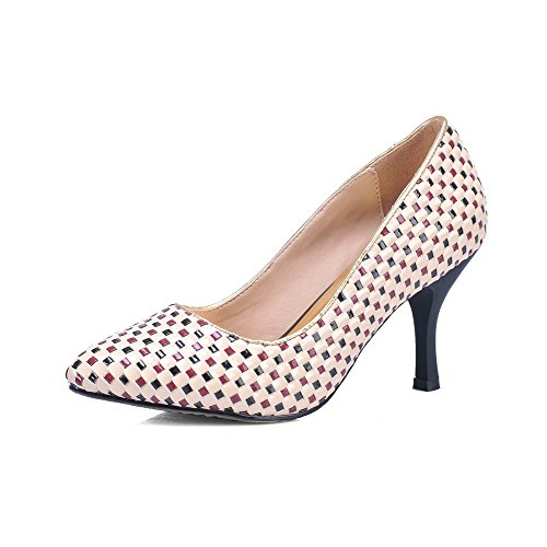 Vouge001 Womans Closed Toe Kitten Heel Blend Materials Soft Material Checkered Pumps with Lattice, Apricot, 5.5 UK