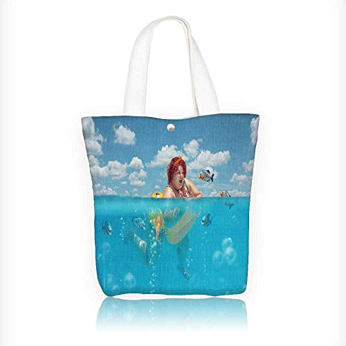 Ladies canvas tote bag Beautiful young fat woman is swimming with yellow duck lifebuoy and defending reusable shopping bag zipper handbag Print Design W11xH11xD3 INCH