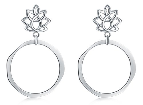 925 Sterling Silver Earrings, BoRuo Lotus Flower Yoga Earrings by BORUO