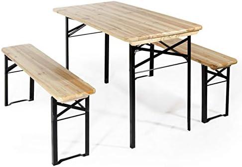 BRIGROS La voglia di fare Tavolo Giardino Legno Esterno BIRRERIA con 2 PANCHE Tavolo da Giardino panchina da Esterno Set birreria Tavolo panche 120×60