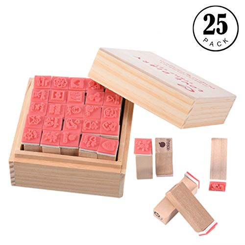 Stamps, 25pcs Cute Wooden Rubber Stamp Stamp Set DIY Diary Craft Card Making Scrapbooking Stamp Set Wear Wooden Box