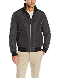 Tommy Hilfiger Men\'s Performance Faux Memory Bomber, Black, S
