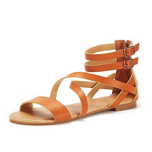 (DREAM PAIRS Women's Safari Tan Pu Fashion Ankle Strap Flat Sandals Size 8 M US)