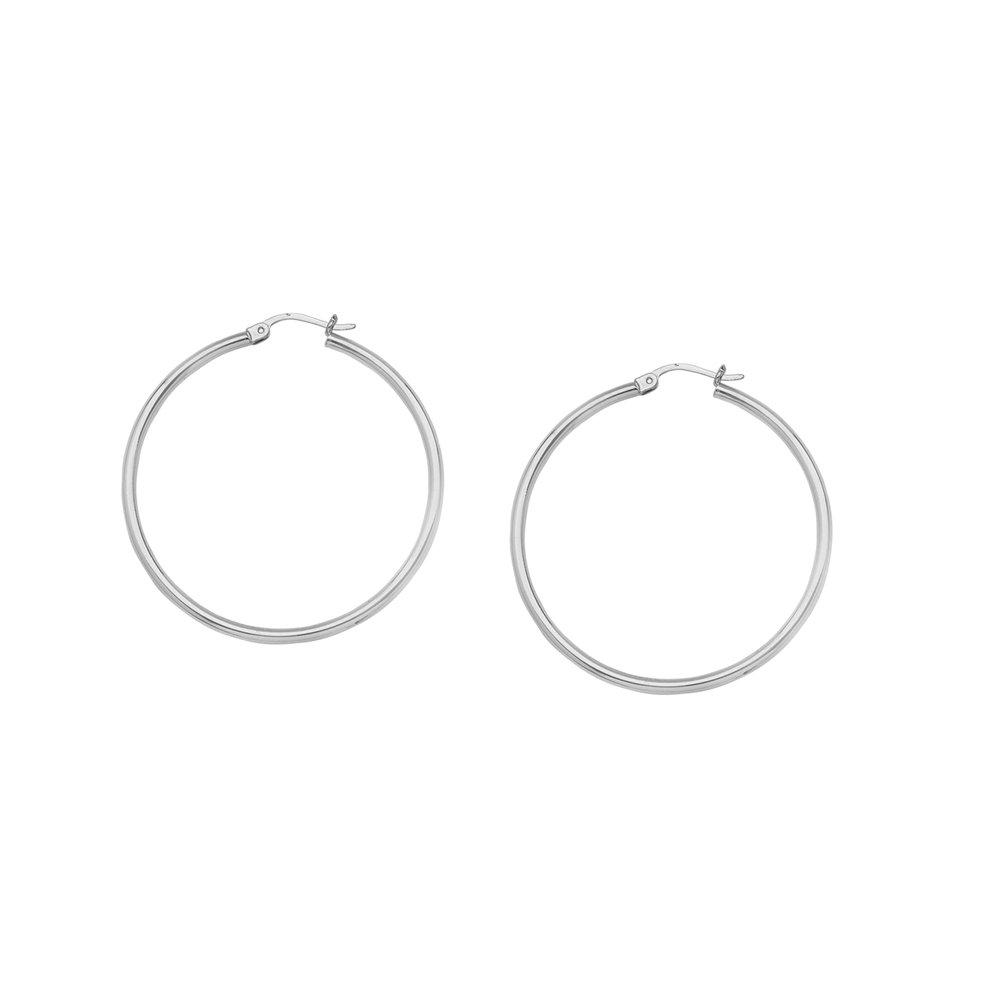Hoop Earrings Ss 2X20Mm Round Tube Sh//Shiny