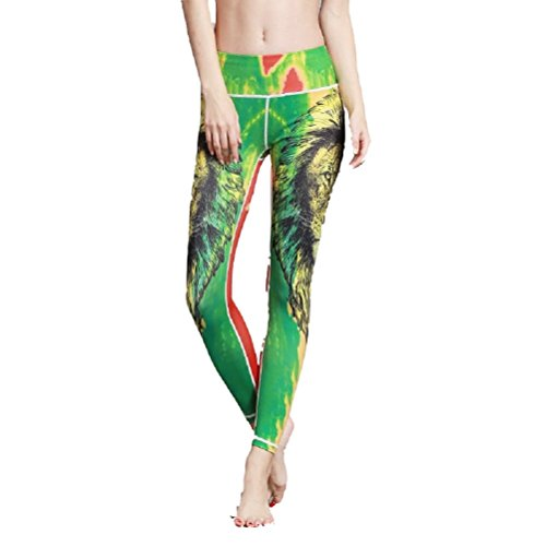 Yoga Las Pantalones Legging De Cintura Verde Slim Impreso Elástico Medias Sports Mujeres Adelgazar Fuweiencore qxBRZZ