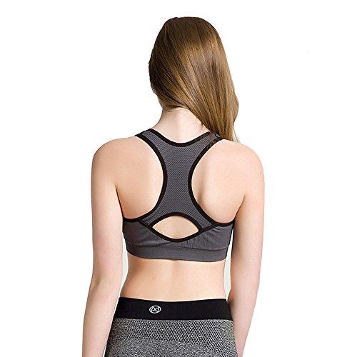 Keysui zrong Mujer Deporte Yoga Correr sujetador de ejercicios de fitness aer¨®bic Dance Chaleco Gris