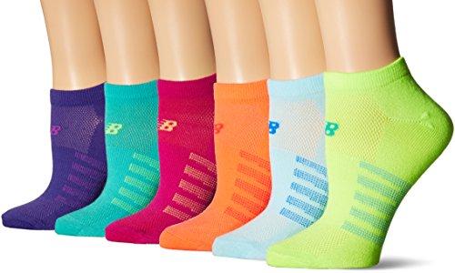 (New Balance No Show Socks (6 Pack), Orange/Blue/Green/Pink/Purple/Teal, Shoe Size: Men's 7.5-9/Women's 6-10 (Medium) )
