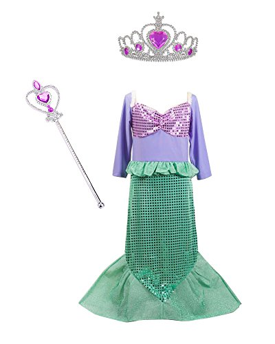 [TOKYO-T Ariel Costume for Kids Little Mermaid Dress Up Halloween Princess with Tiara (4)] (Cute Ariel Costumes)