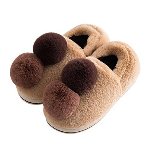 Hausschuhe Innen Baumwolle Winter Damen Hause Boden Dicke Warme Schuhe Einfarbig Braun