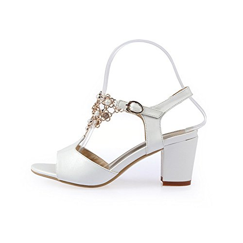 AllhqFashion Womens Solid PU Kitten Heels Open Toe Buckle Sandals White