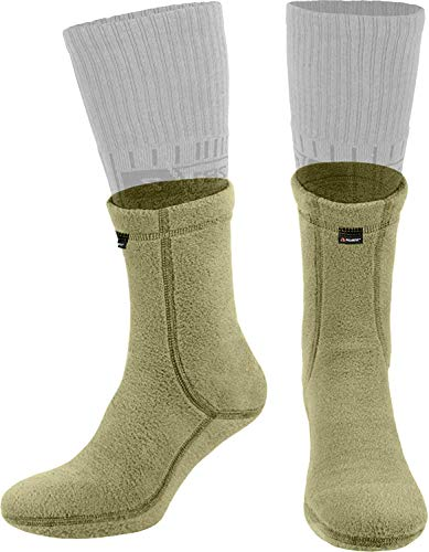 281Z Military Warm Liners Boot Socks - Outdoor Tactical Hiking Sport - Polartec Fleece Winter Socks (Large, Green Khaki)