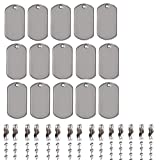Jetloter 15 Pcs Shiny Stainless Steel Military Spec Dog Tags with Chains ID Tags for People Pet Tag Blanks