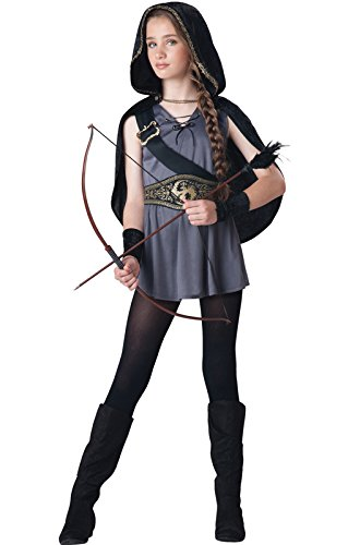 InCharacter Costumes Tween Kids Hooded Huntress Costume, Grey/Black, L (Tween Hooded Huntress Costume)