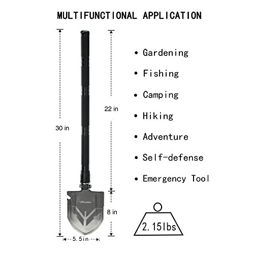 URmates Outdoor Survival Folding Shovel of Multi functional Portable Military Kit for Camping Hiking Hunting Fishing Gardening Backpacking Car Emergency Snow Shoveling