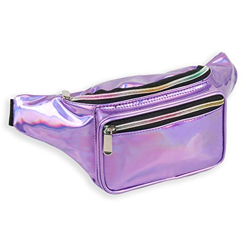 Holographic Fanny Pack for Women - Waist Fanny Pack with Adjustable Belt for Rave, Festival, Travel, Party (Purple)]()