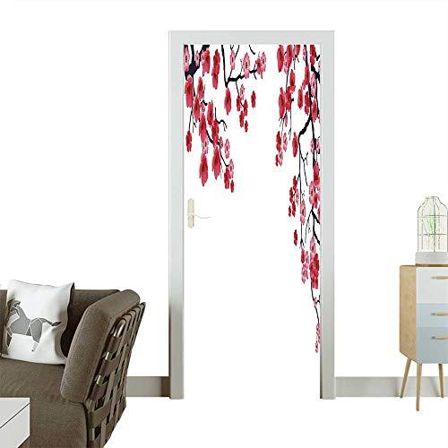 Trunk Flowering (Homesonne Waterproof Decoration Door Decals of Flowering Branch of Sakura Vector. Perfect Ornament W35.4 x H78.7 INCH)