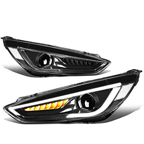 Ford Headlights Focus Projector - For 15-18 Ford Focus Pair 3D LED DRL+Sequential Chasing Turn Signal Projector Headlight/Lamps