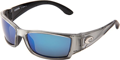 Costa del Mar Unisex-Adult Corbina CB 18 OBMGLP Polarized Iridium Wrap Sunglasses, Silver, 61.2 - Sunglasses Corbina Costa