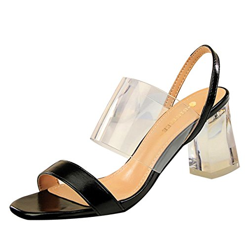 Women Pumps, Transparent Crystal Square High Heel Open Toe Office Sandal Shoes ()