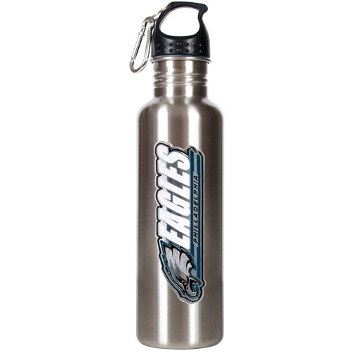Water Nfl Bottle - NFL Philadelphia Eagles Stainless Steel Water Bottle with Pop-Up Spout, 26-Ounce, Silver
