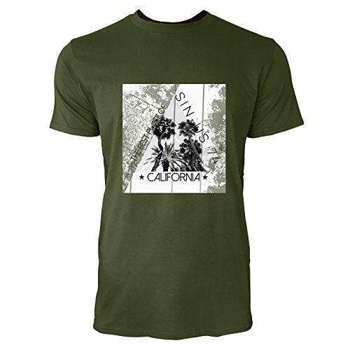 SINUS ART® Palmen mit Dreieck – The Best Place Of California Herren T-Shirts in Armee Grün Fun Shirt mit tollen Aufdruck