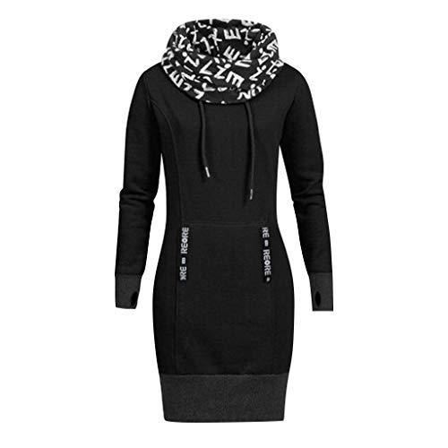 Mysky Fashion Women Casual Letter Print Turtleneck Collar Mini Dress Ladies Simple Pure Color Plus Size Dress