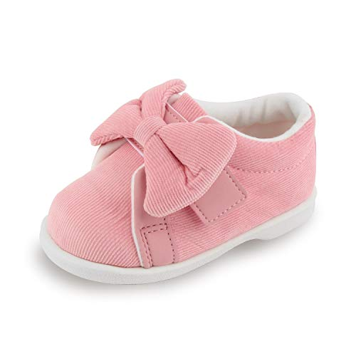 BAYVLY Corduroy Ribbon Squeaky Shoes for Toddler Girls (6 M US, Pink)