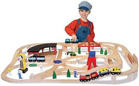 & Doug Wooden Railway Set 130 Pieces (E-Commerce Packaging Great Gift for Girls and Boys - Best for 3 4 5 Year Olds and Up)