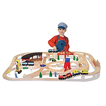 Image of Melissa & Doug Wooden Railway Set, 130 Pieces (E-Commerce Packaging, Great Gift for Girls and Boys - Best for 3, 4, 5 Year Olds and Up) Baby