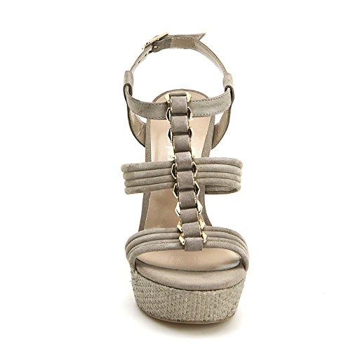 ALESYA by Scarpe&Scarpe - Sandalias altas con accesorio dorado y plataforma, de Piel, con Tacones 12 cm Beige