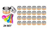 Stainless Steel Magnetic Spice Jars – Bonus Measuring Spoon Set – Airtight Kitchen Storage Containers – Stack on Fridge to Save Counter & Cupboard Space – 24pc Organizers in Gold