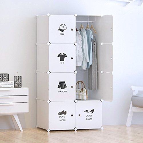 Portable Clothes Closet Wardrobe by Tespo-Freestanding Storage Organizer with doors , large space and sturdy construction. White(8 - Deeper Cube)