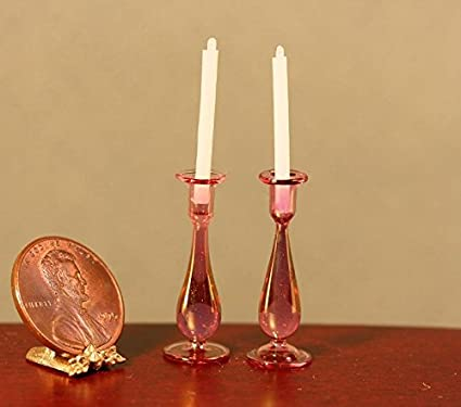 Miniature Philip Grenyer Cranberry Glass Candlesticks w//Candles DOLLHOUSE 1:12