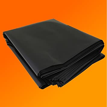 4M X 3M 500G BLACK HEAVY DUTY POLYTHENE PLASTIC SHEETING GARDEN