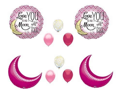 LOVE YOU TO MOON AND BACK PINK Gold Birthday Baby Shower Balloons Decorations