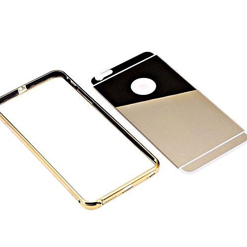 Vandot 2et1 Apple iPhone 6 6S 4.7 Pouces Coque Etui Luxe Miroir Housse Etui pour Apple iPhone 6 6S 4.7 Pouces Uitra Mince Housse ( Retour Hard Case PC Plasticque + Aluminium Métal Rim Frame Bumper + 3