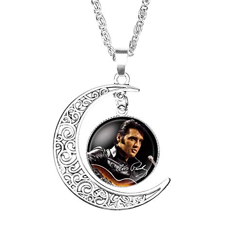 Crafting Mania LLC. 1 Elvis Presley Crescent Moon Pendant Necklace #1 with Glass Dome for Gift - Elvis Presley Dome