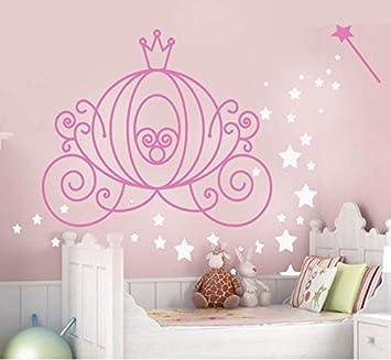 Calabaza de princesa Cenicienta Calabaza Carruaje mágico con polvo de hadas y varita para pared con letras enormes de 70 W x 53 H carrageArt calcomanías de vinilo con citas
